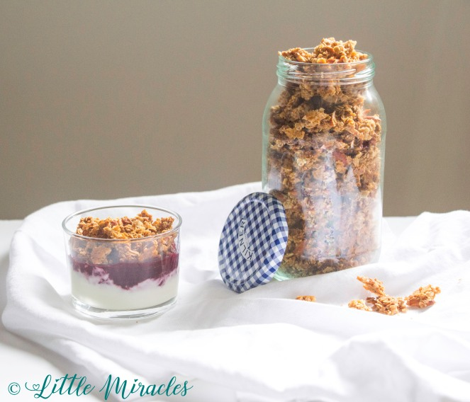 Honey Coconut Granola with Sliced Almonds- An easy granola recipe ready within an hour with just 3-5 minutes of prep work! Includes suggestions for substitutions according to your taste! Results in a crunchy, golden granola, full of flavor that lifts any snack from yummy to delicious and healthy!